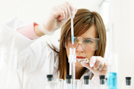 laboratory worker with test tubes
